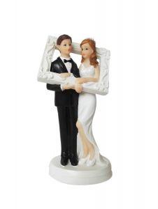 Brudepar med Ramme Str ca 13cm