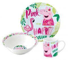 Barnesett i keramikk 3 deler, Peppa Pig Flamingo