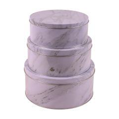 Kakebokser Marmor Runde, sett av 3 stk
