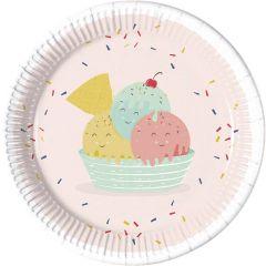 Papptallerken Happy Ice Cream 23 cm, 8 stk