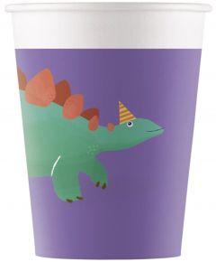 Drikkekrus i Papp, Dinosaur 8 stk COMPOSTABLE