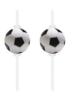Sugerør med Fotball i papir, 4 stk