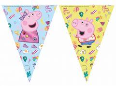 Flaggrekke med Peppa Pig i plast