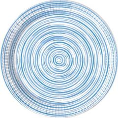 Papptallerken Blå Sirkler Compostable 23 cm, 8 stk