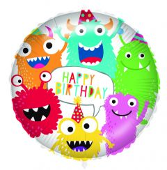 Ballong Monsters Happy Birthday Folie 46 cm