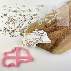 Witch on a Broom Halloween Cookie Cutter and Embosser