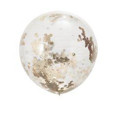Ballong med Confetti Rose Gold  90 cm, 3 stk