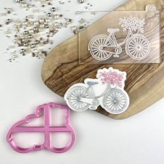 Bicycle with Flowers Floral Cookie Cutter and Embosser