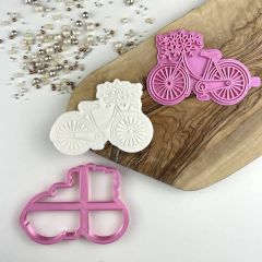 Bicycle with Flowers Floral Cookie Cutter and Stamp