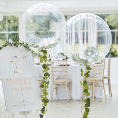 Ballong Hvit med grønne blader  90 cm, 1 stk