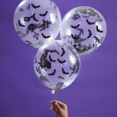 Ballonger med Confetti Flaggermus 30 cm, 5 stk
