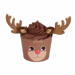 Muffinsformer Rudolf med sukkerdekorasjoner, 6 set