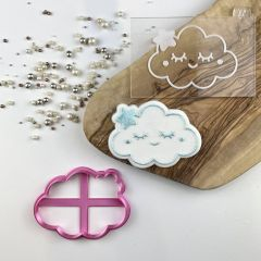 Cute Cloud Baby Shower Cookie Cutter and Embosser