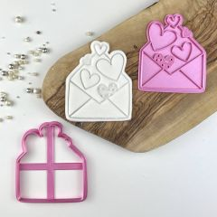 Envelope of Hearts Valentine's Cookie Cutter and Stamp