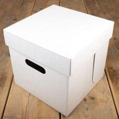 Kakeboks hvit papp 25,5 x 25,5 x 25 cm