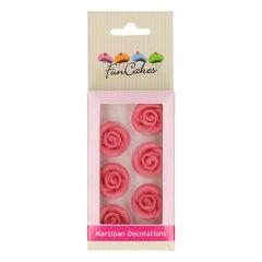 Kakepynt Roser Rosa 6 stk Marsipan, 2,5cm