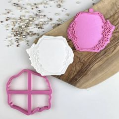 Floral Hexagon Cookie Cutter and Stamp