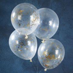 Ballong med Gull shimmer 30 cm, 5 stk