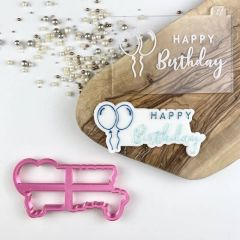Happy Birthday Two Font Cookie Cutter and Embosser