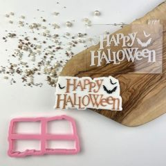 Happy Halloween with Bats Cookie Cutter and Embosser