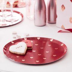 Papptallerken Valentine med Hjerter 24,5 cm, 8 stk