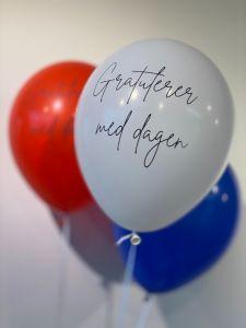 Ballonger GratulererMedDagen Rød,Blå,Hvit 30cm, 12