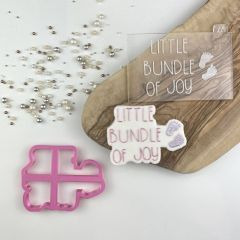 Little Bundle of Joy Baby Shower Cookie Cutter and Embosser
