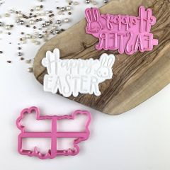 Happy Easter Style 2 Rabbit Cookie Cutter and stamp