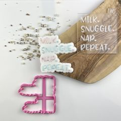 Milk Snuggle Nap Repeat Baby Shower Cookie Cutter and Embosser