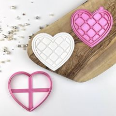 Patchwork Heart Valentine's Cookie Cutter and Stamp