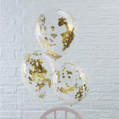 Ballong med Confetti i Gull 30 cm, 5 stk
