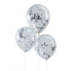 Ballong med Confetti i Sølv 30 cm, 5 stk