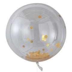 Ballong med Confetti Gull  90 cm, 3 stk