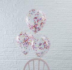 Ballong med Confetti i ass farger 30 cm, 5 stk