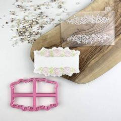 Rose Banner Floral Cookie Cutter and Embosser