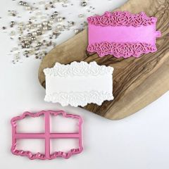 Rose Banner Floral Cookie Cutter and Stamp