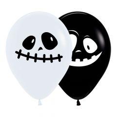 Ballonger Spøkelse Sort/hvit 30cm, 12 PK