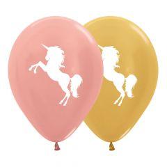 Ballonger Unicorn/Enhjørning Metallic 30cm, 12 PK