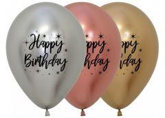 Ballonger Ass Happy Birthday Reflex 30cm, 25 PK