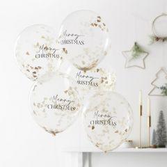 Ballonger Merry Christmas med Confetti 30 cm, 5 st