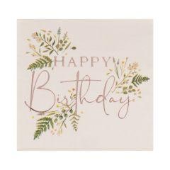 Servietter Floral Happy Birthday, 16 stk, ca 16,5