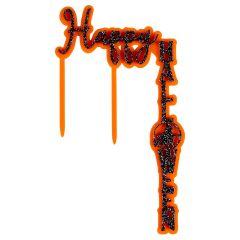 Kaketopper HappyHalloween SortGlitter/Orange acryl