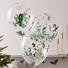 Ballonger med Confetti Jul 30 cm, 5 stk