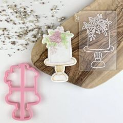 Wedding Cake with Flowers Cookie Cutter and Embosser